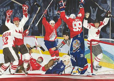 Gretzky Painting - Hat Trick by Ronald Wilkie