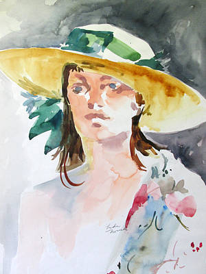 Painting - Hat With Green Ribbon by Linda Novick