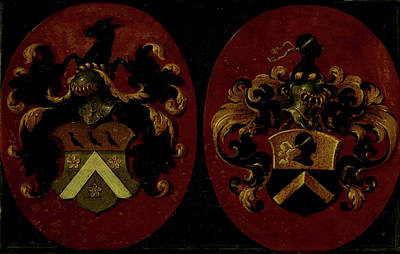 Het Drawing - Hatchment With The Coat Of Arms Of Boudaen And Fourmenois by Litz Collection