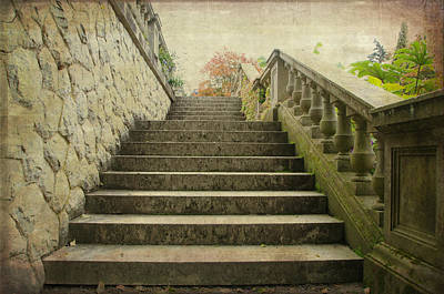 Photograph - Hatley Castle Garden Steps by Marilyn Wilson