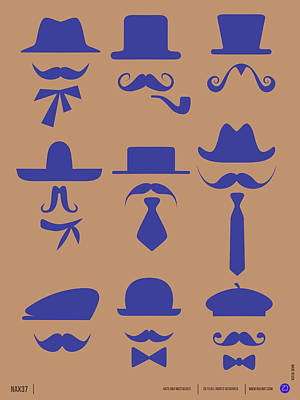 Inspirational Mixed Media - Hats Glasses And Mustache Poster 2 by Naxart Studio