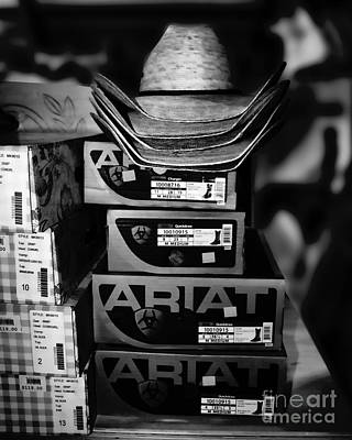 Equestrian Apparel Photograph - Hats Or Boots Bw by TN Fairey
