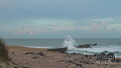 Waves Photograph - Hatteras Groin 4 by Cathy Lindsey