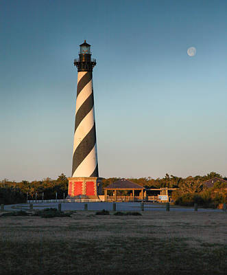 Hatteras Lighthouse And Moon Art Print by Steven Ainsworth