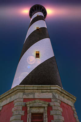 Digital Art - Hatteras Lighthouse At Night by Mary Almond