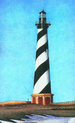 Lighthouse Drawing - Hatteras Lighthouse by Karen Rhodes