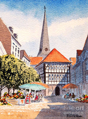 Gouache Painting - Hattingen Germany by Bill Holkham