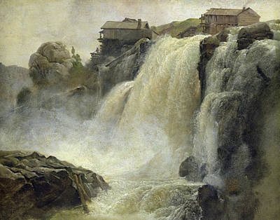 Falling Water Painting - Haugfoss In Norway by Christian Ernst Bernhard Morgenstern