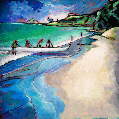 Outrigger Painting - Haul Canoe by Angela Treat Lyon