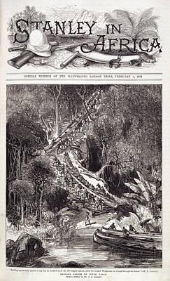 Canoe Photograph - Hauling Canoes Up Inkisi Falls by British Library