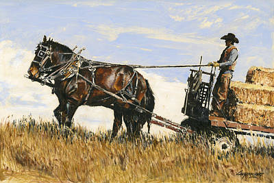 Hay Wagon Painting - Hauling Hay by Don  Langeneckert