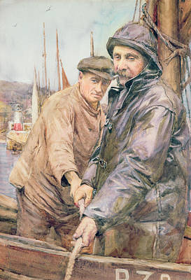 Watercolour Drawing - Hauling In The Net by Henry Meynell Rheam