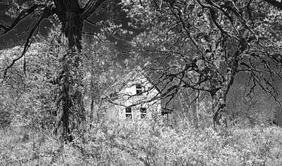 Haunted Farm House Black And White Original