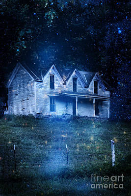 Haunted House At Night Print by Stephanie Frey