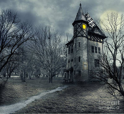 Full Moon Photograph - Haunted House by Jelena Jovanovic