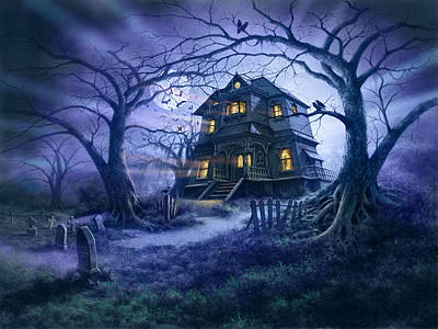 Full Moon Photograph - Haunted House Variant 1 by Steve Read