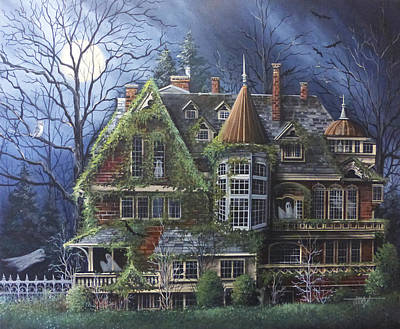 Spooky Scene Painting - Haunted Mansion by Debbi Wetzel