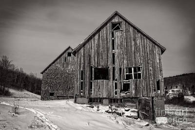 Country Snow Photograph - Haunted Old Barn by Edward Fielding