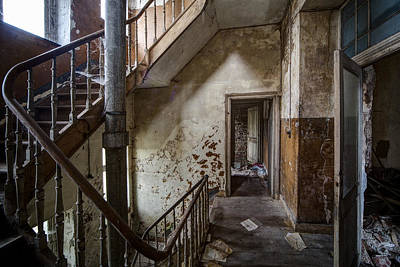 Haunted Staircase Urban Exploration Art Print by Dirk Ercken