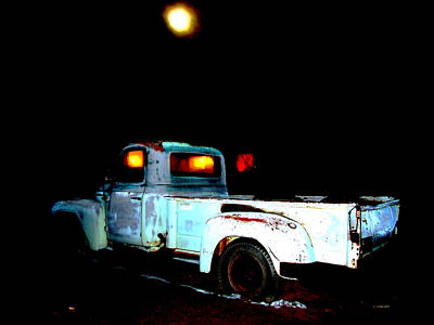 Art Print featuring the digital art Haunted Truck by Cathy Anderson