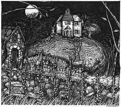Haunted Mansion Drawing - Haunted_house_on_hill_1 by Joseph Capuana