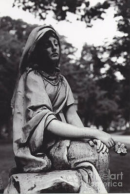 Photograph - Haunting Cemetery Female Mourner Sitting On Grave by Kathy Fornal