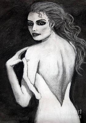 Drawing - Haunting Lady by Barbara J Blaisdell