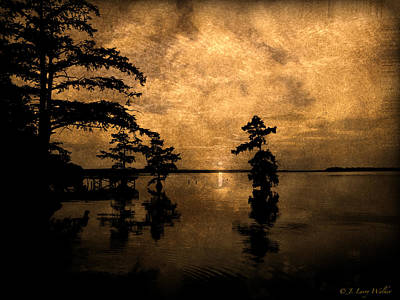 Digital Art - Haunting Sunrise - Reelfoot Lake by J Larry Walker