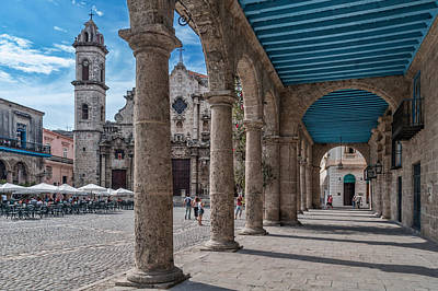 Havana Cathedral And Porches. Cuba Art Print by Juan Carlos Ferro Duque