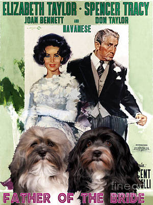 Painting - Havanese Art - Father Of The Bride Movie Poster by Sandra Sij