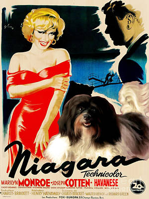 Painting - Havanese Art - Niagara Movie Poster by Sandra Sij