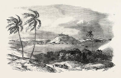Antique Vessel Drawing - Havannah, Part Of The Harbour, Fort Of Atares by Cuban School