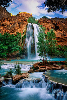 Water Falls Photograph - Havasu Cascades by Inge Johnsson