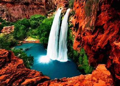 Painting - Havasue Falls Grand Canyon by Bob and Nadine Johnston