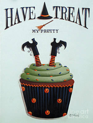 Primitive Folk Art Painting - Have A Treat My Pretty by Catherine Holman