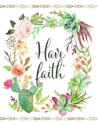 Succulents Painting - Have Faith Wreath by Tara Moss