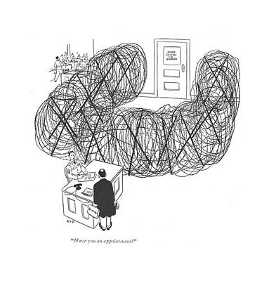 Barbed Wire Fences Drawing - Have You An Appointment? by Robert J. Day