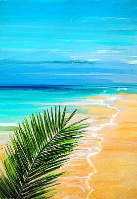 Abstract Seascape Painting - Haven Of Bliss by Lourry Legarde