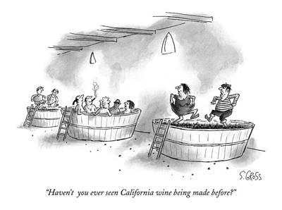 Wine Grapes Drawing - Haven't  You Ever Seen California Wine Being Made by Sam Gross