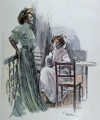 Archives Drawing - Having A Drink. Food And Drink, Liszt Gourmet Archive by Hlavaty, Franz (1861-1917), German