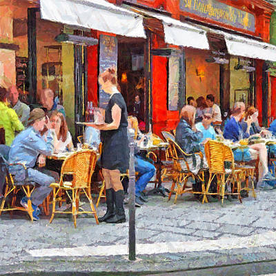 Digital Art - Having Lunch In A Parisian Cafe by Digital Photographic Arts
