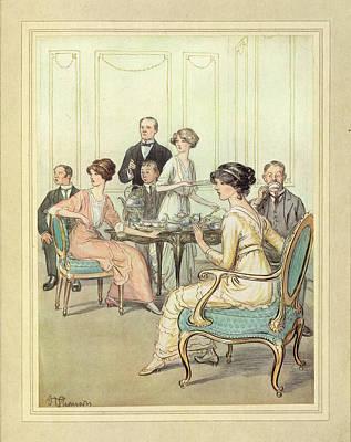 Having Tea Print by British Library