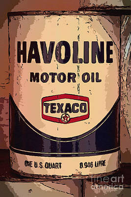Havoline Motor Oil Can Art Print by Carrie Cranwill