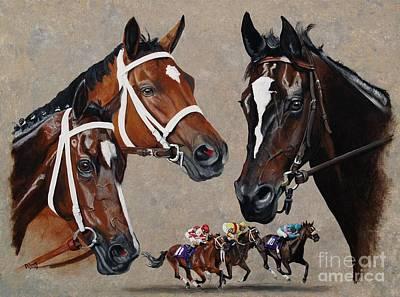 Zenyatta Painting - Havre De Grace  Rachel Alexandra And Zenyatta by Pat DeLong
