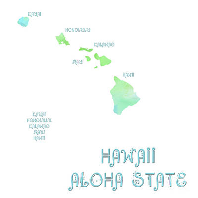 Digital Art - Hawaii - Aloha State - Map - State Phrase - Geology by Andee Design