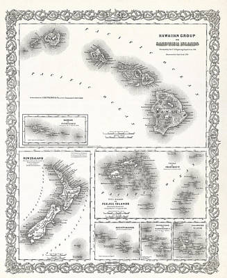 Old Map Photograph - Hawaii And South Pacific Islands Map 1855 by Daniel Hagerman