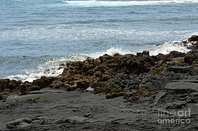 Digital Art - Hawaii Island Black Sand Beach by Eva Kaufman