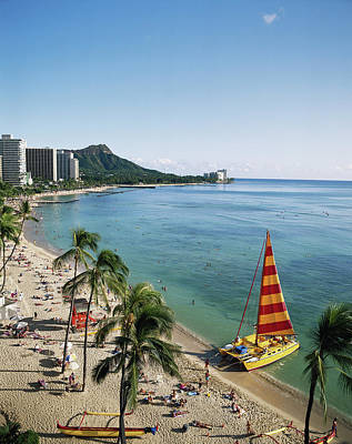 Hawaii Islands, Oahu, Waikiki, View Art Print