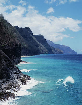 Hawaii, Kauai, Waves From The Pacific Art Print