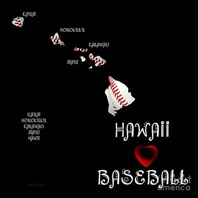 Andee Design Red Digital Art - Hawaii Loves Baseball by Andee Design